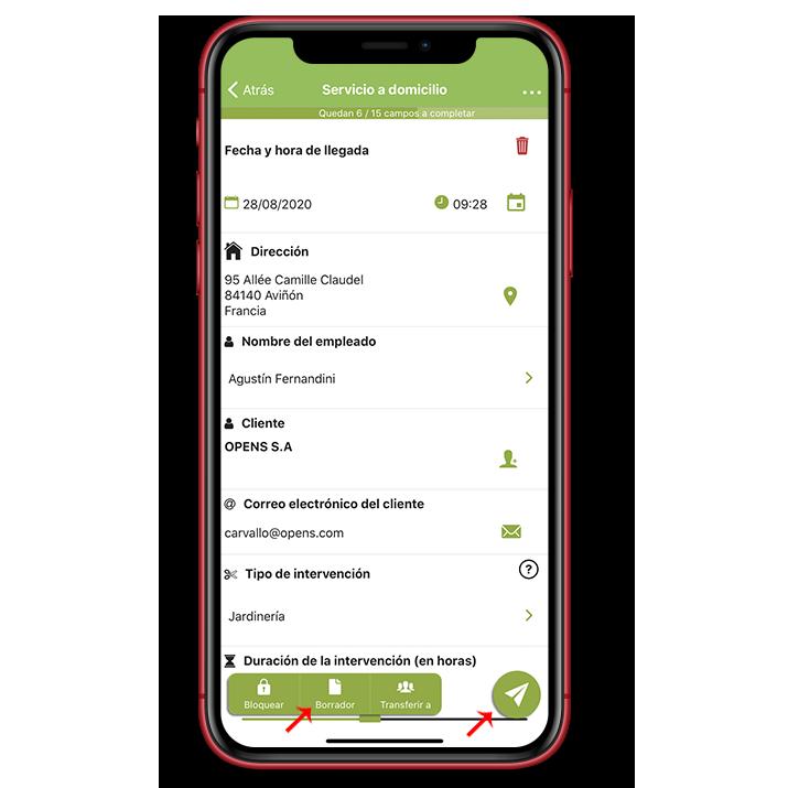 Los botones Borrador y Enviar en tu aplicación móvil.