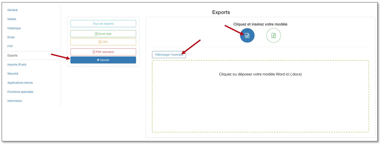 Vous pouvez télécharger un exemple de Word Personnalisé dans les Options de votre formulaire, onglet Export.