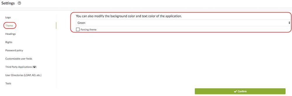 Color theme settings