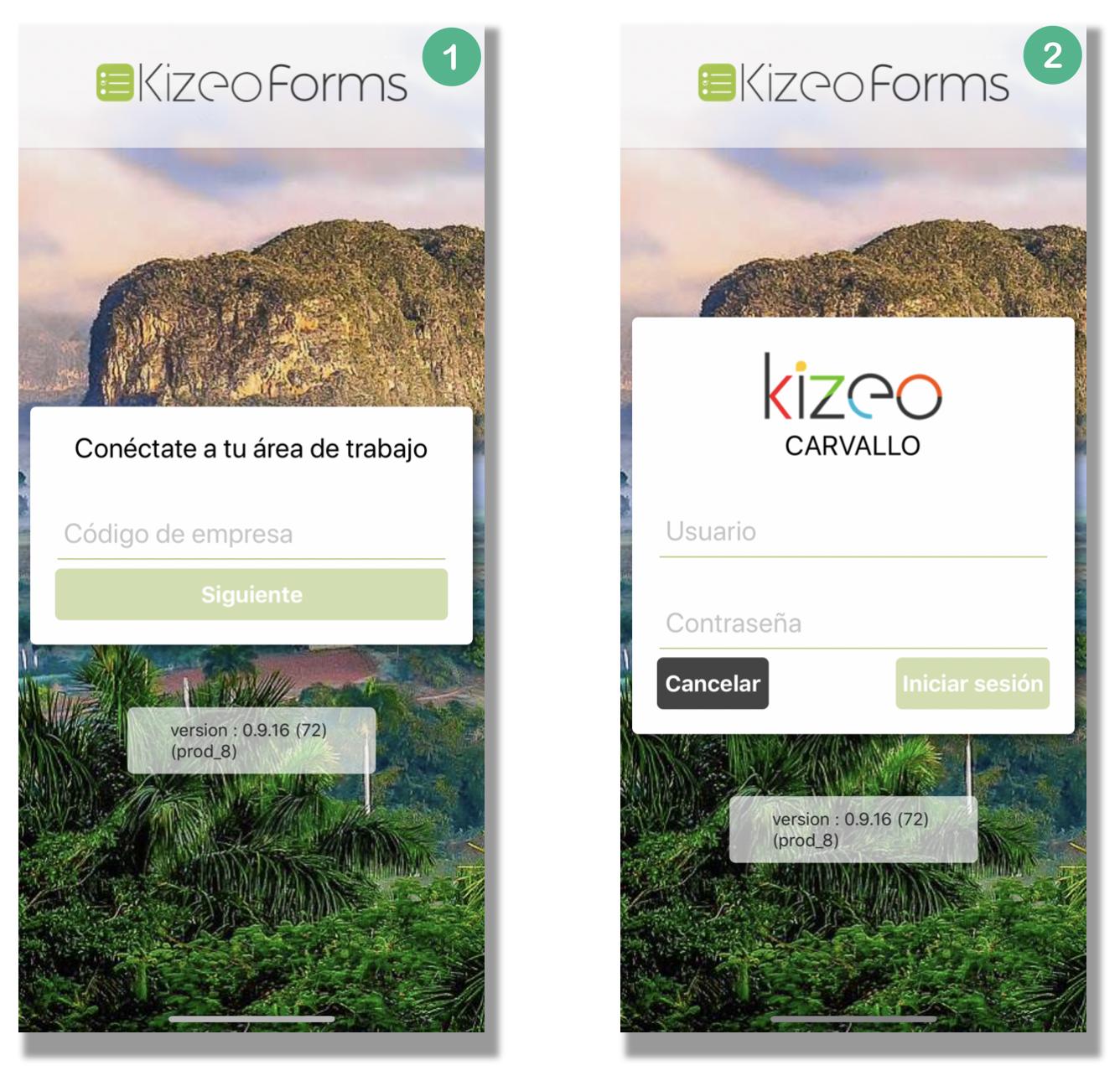 Conéctate con tus informaciones de usuario Kizeo Forms.