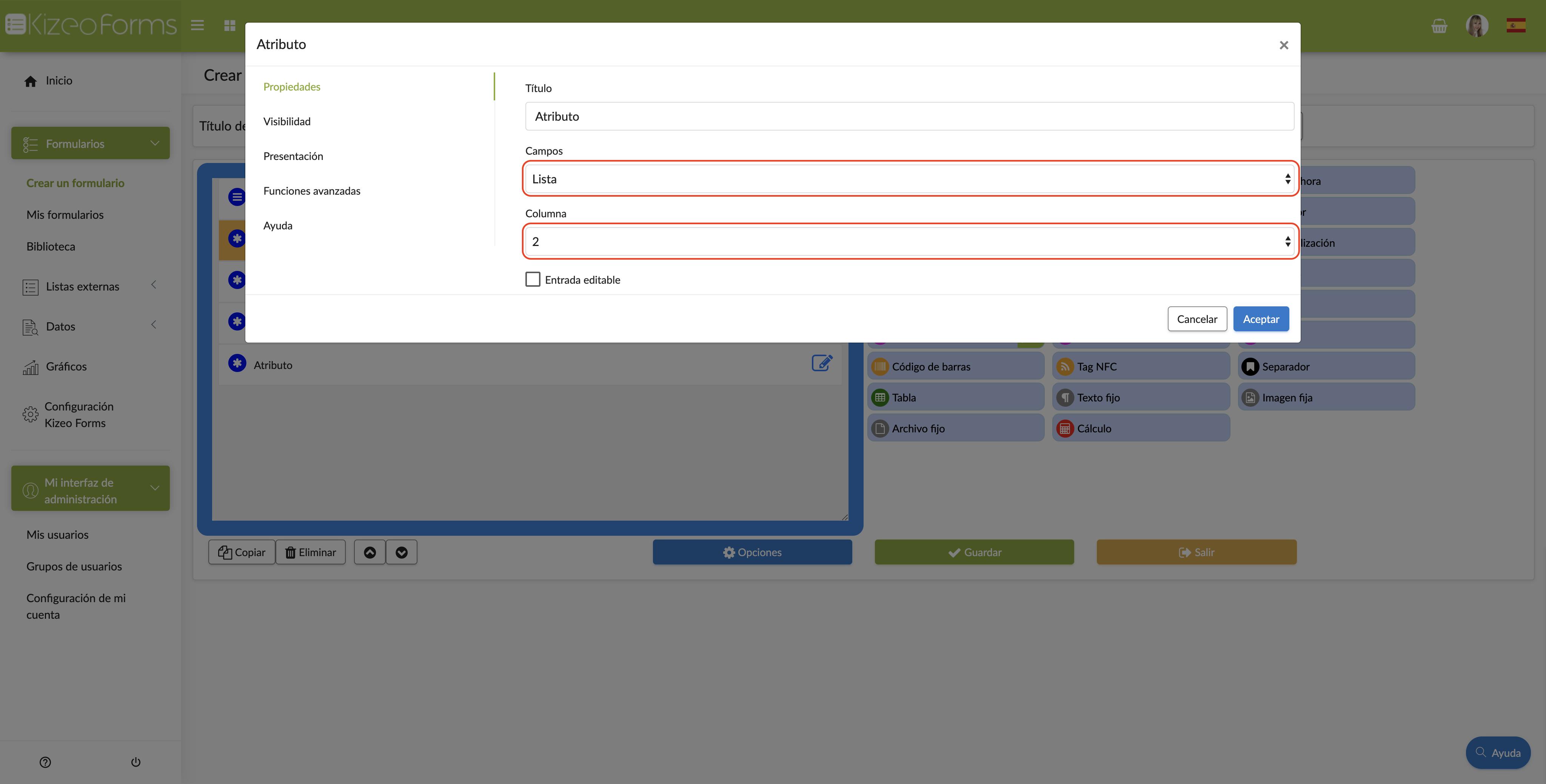Configura tu campo atributo con respecto a tu lista externa.