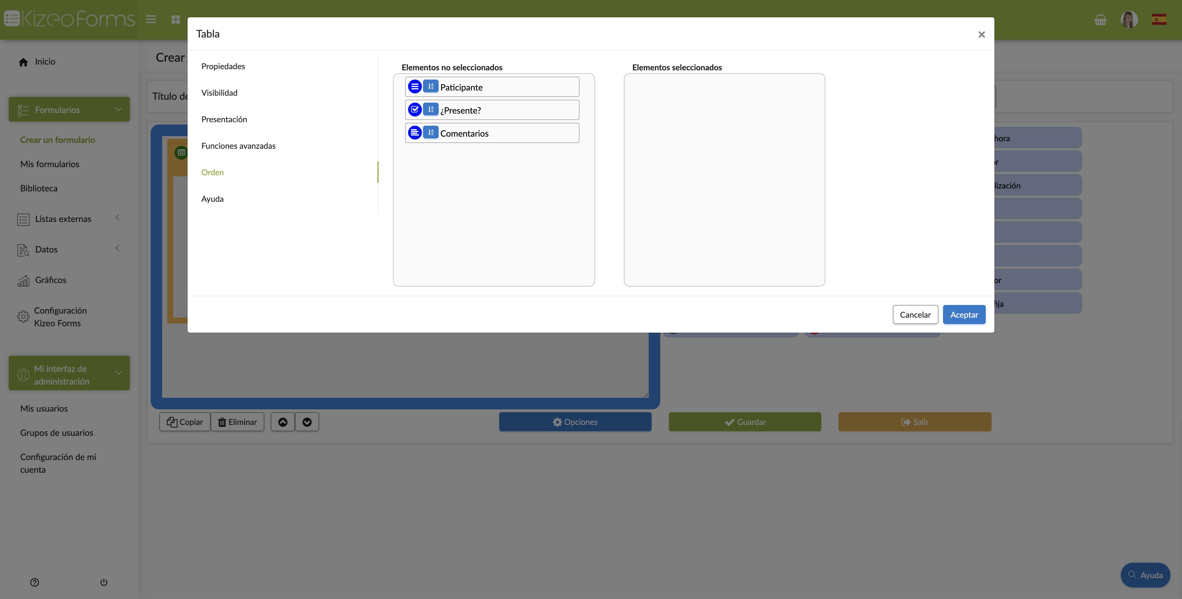 Puedes configurar el orden de los elementos que están en tu tabla.