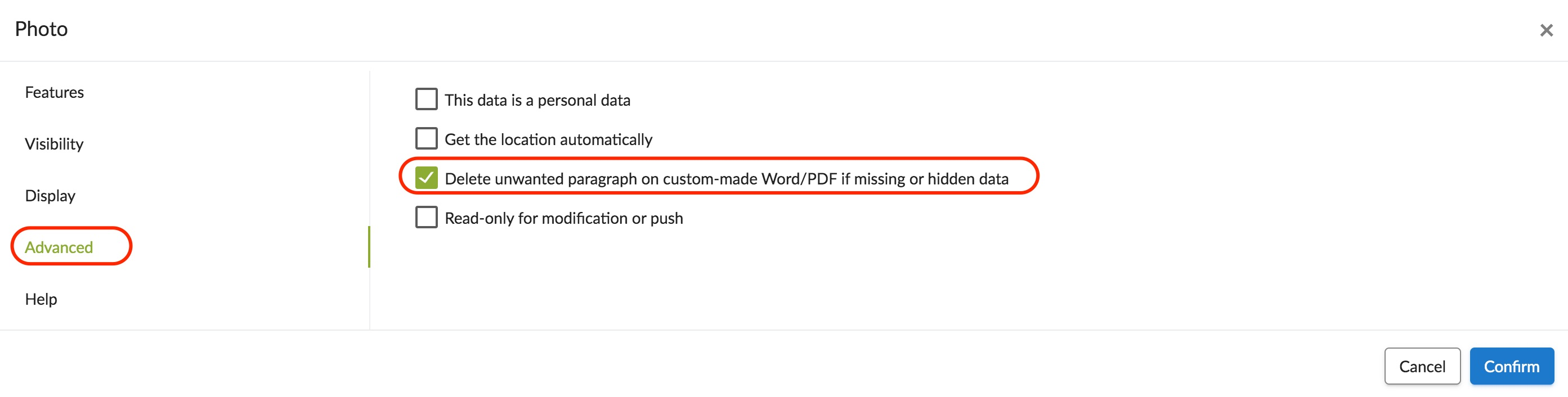 Deletion of a paragraph in case of an empty or hidden data