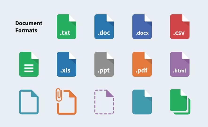 Différents formats d'export compatibles avec Kizeo Forms.