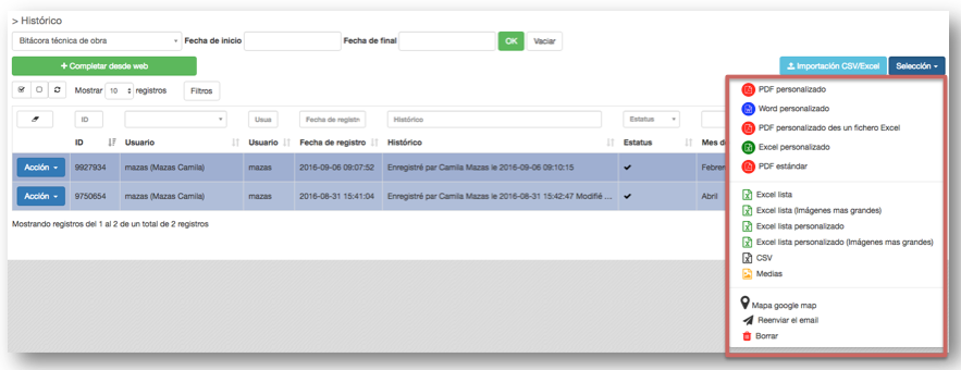 Exportar sus datos desde la página Histórico de Kizeo Forms.