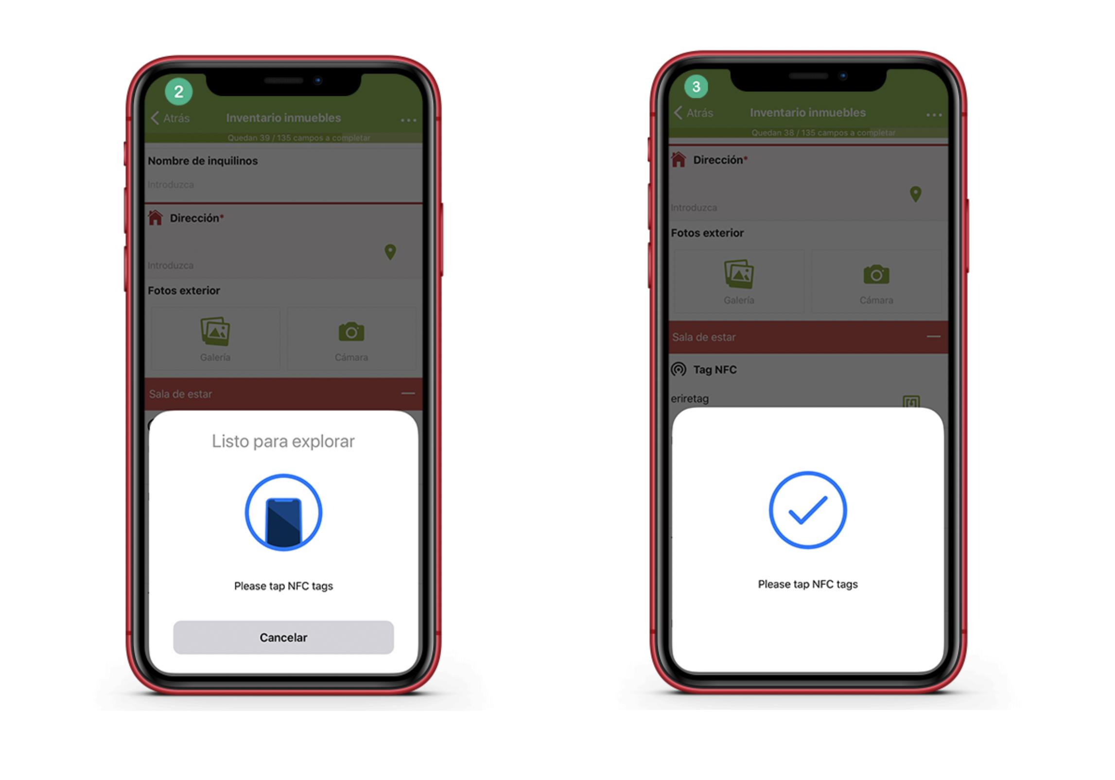 Escanea el tag NFC con tu aparato móvil para leer la información.