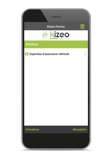 Liste des formulaires Kizeo Forms sur le mobile.