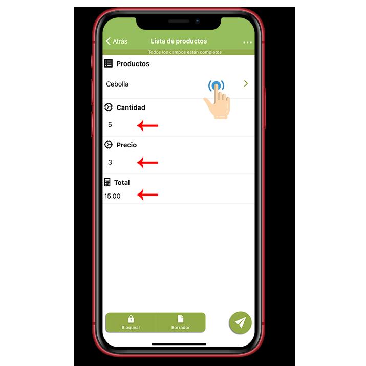 Todos los campos atributos se rellenaran automáticamente en tu móvil.
