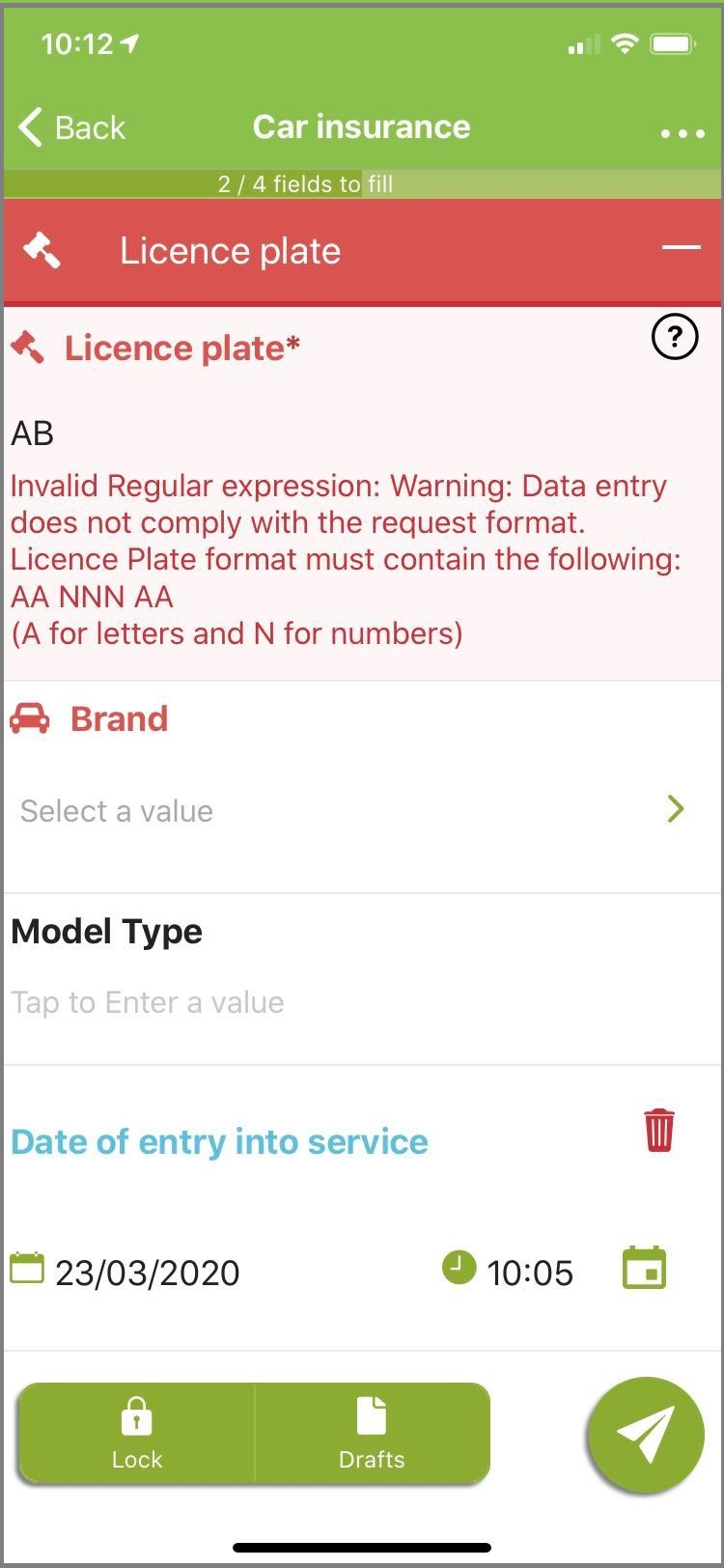 Message displayed to the user informing the form cannot be saved.