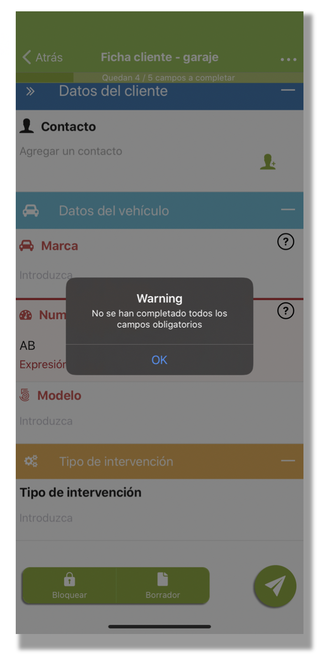 El usuario no puede enviar el formulario, mensaje de alerta