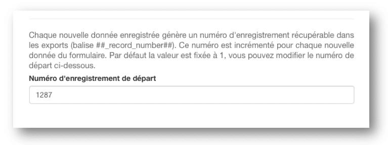Configurez votre numéro d'enregistrement.
