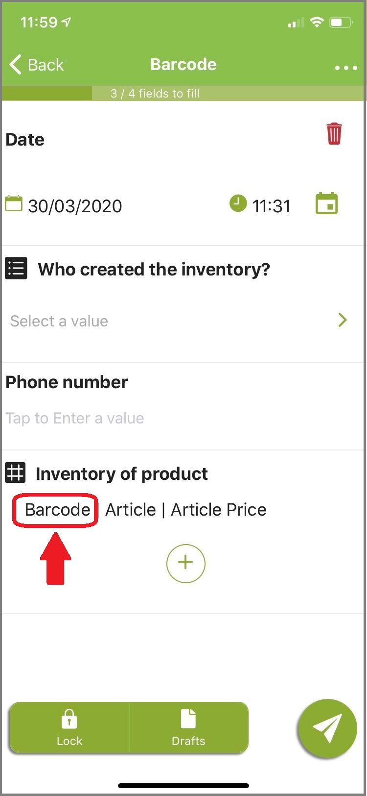 Open your form and click on the barcode.