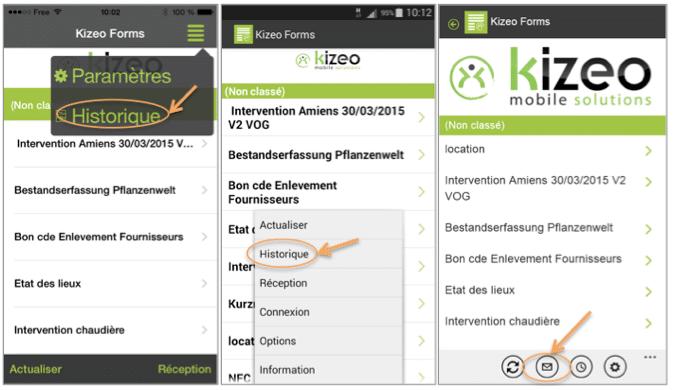 Accédez à l'application Kizeo Forms depuis votre mobile et cliquez sur Menu, Historique.