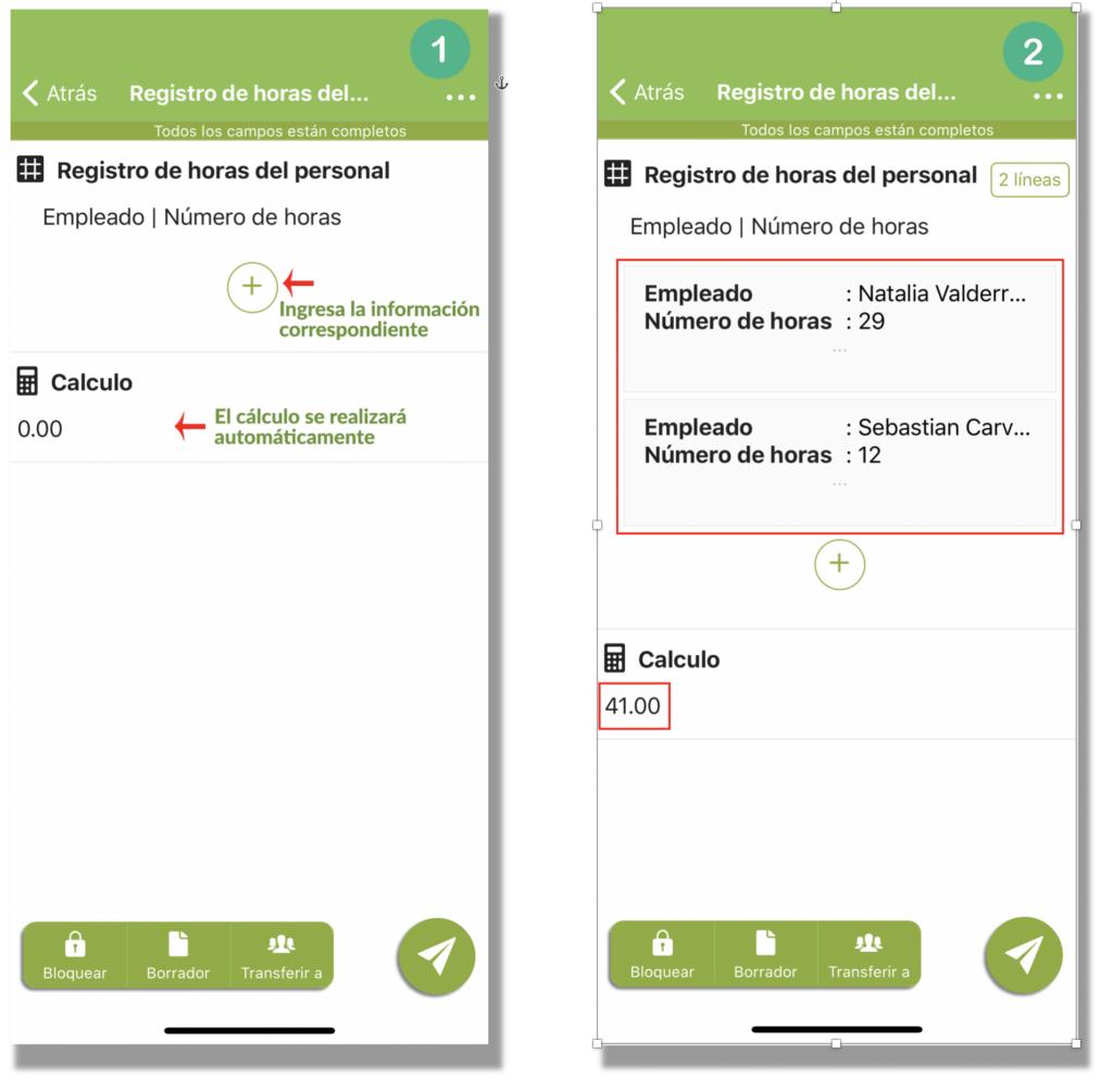 Ejemplo del campo cálculo en el formulario registro de horas en su aplicación Kizeo Forms.