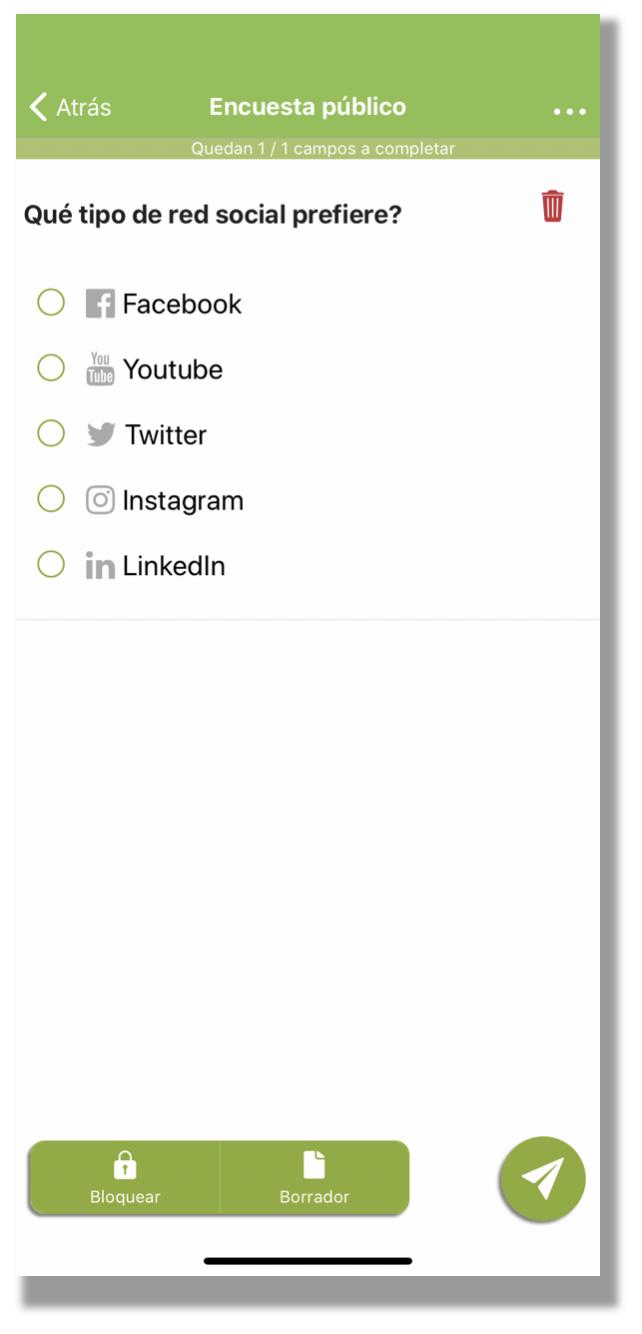 Resultados de la selección con los iconos en el móvil.
