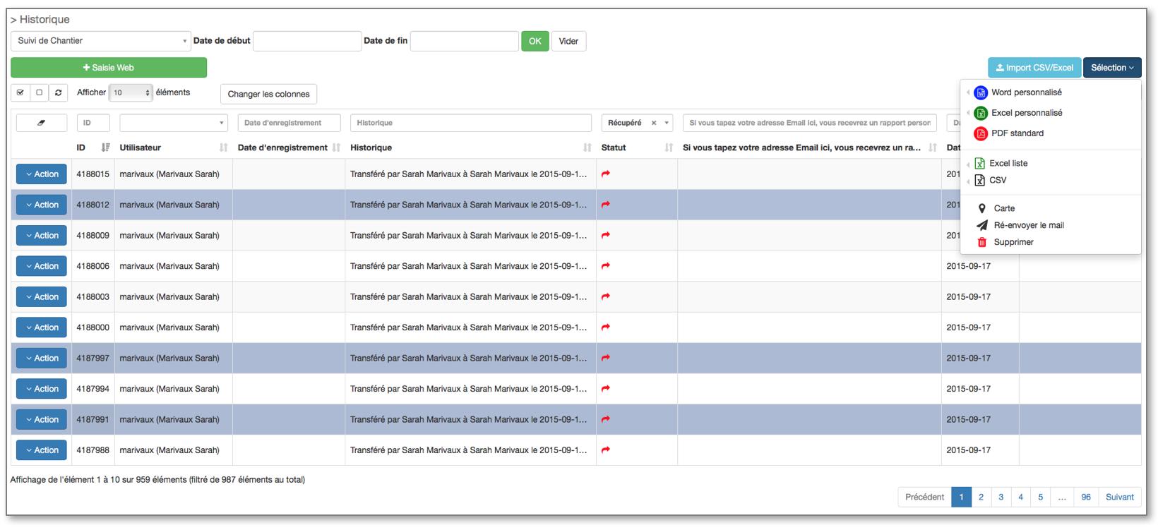 Exportez vos données au format de votre choix