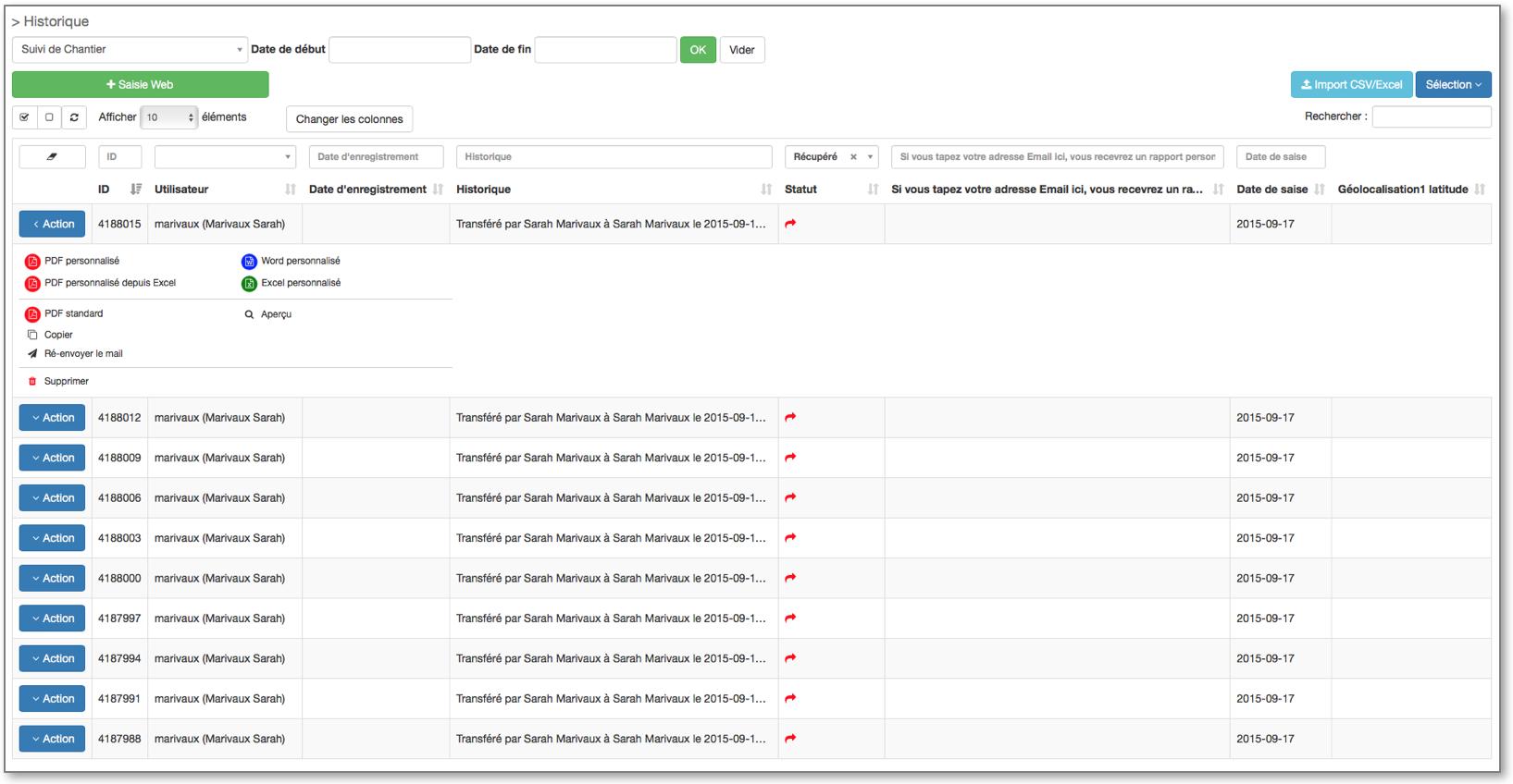 Exportez vos données au format souhaité