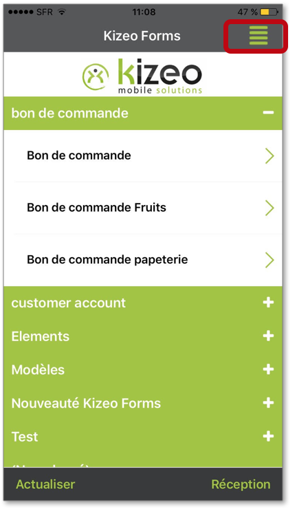 Cliquez sur le bouton Menu de l'application mobile