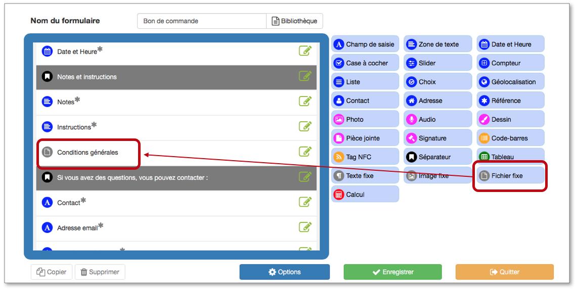Insérez l'élément Fichier Fixe dans votre formulaire Kizeo Forms