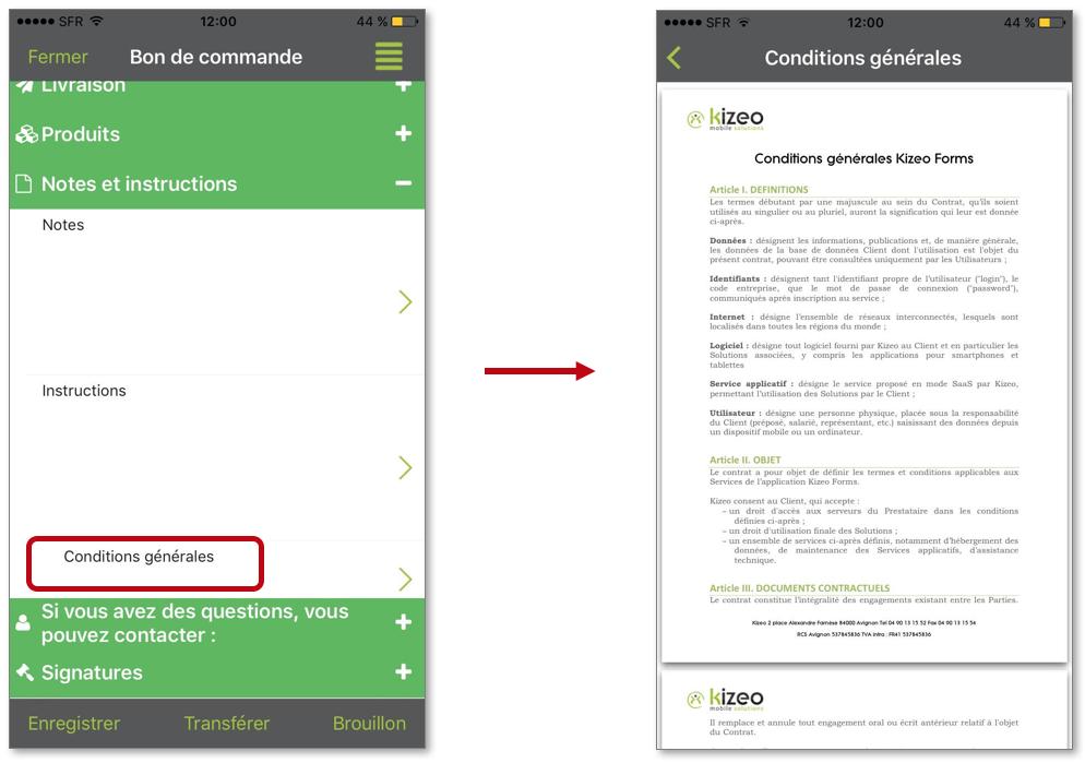 Sur votre mobile ou tablette, cliquez sur le champ Fichier Fixe pour visualiser votre document