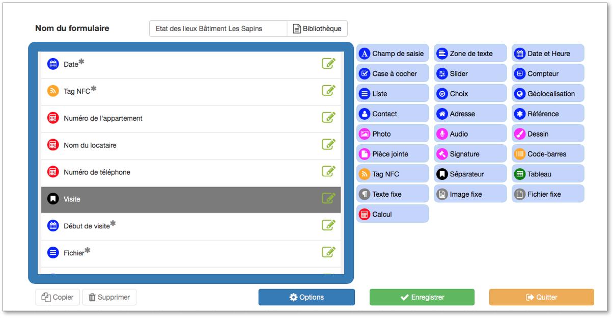 nsérez le champ Tag NFC dans votre formulaire Kizeo Forms