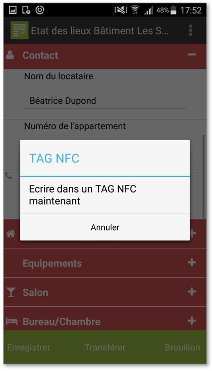 vous aurez un message vous demandant de rapprocher votre appareil mobile du tag NFC