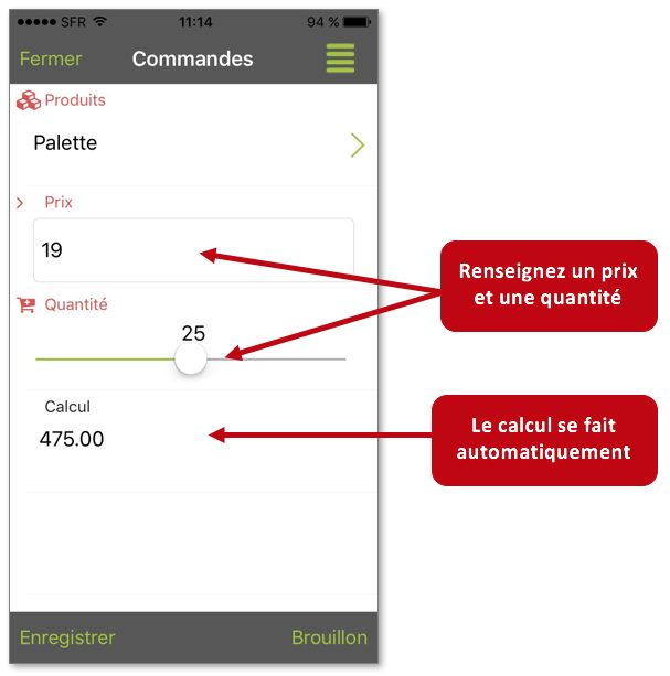 Exemple de champ calcul sur l'application mobile.