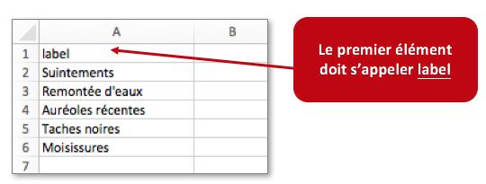 Saisissez votre liste externe sous Excel.