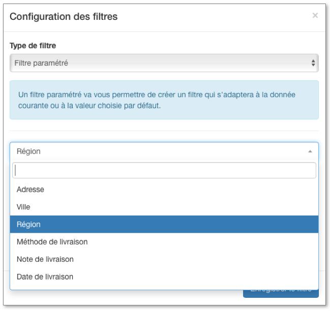 Sélectionnez le paramètre à appliquer pour configurer votre filtre.