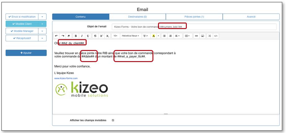 Vous avez la possibilité depersonnaliserces informations grâce à des tags dynamiques