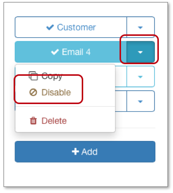 To disable a template, click on the drop-down menu
