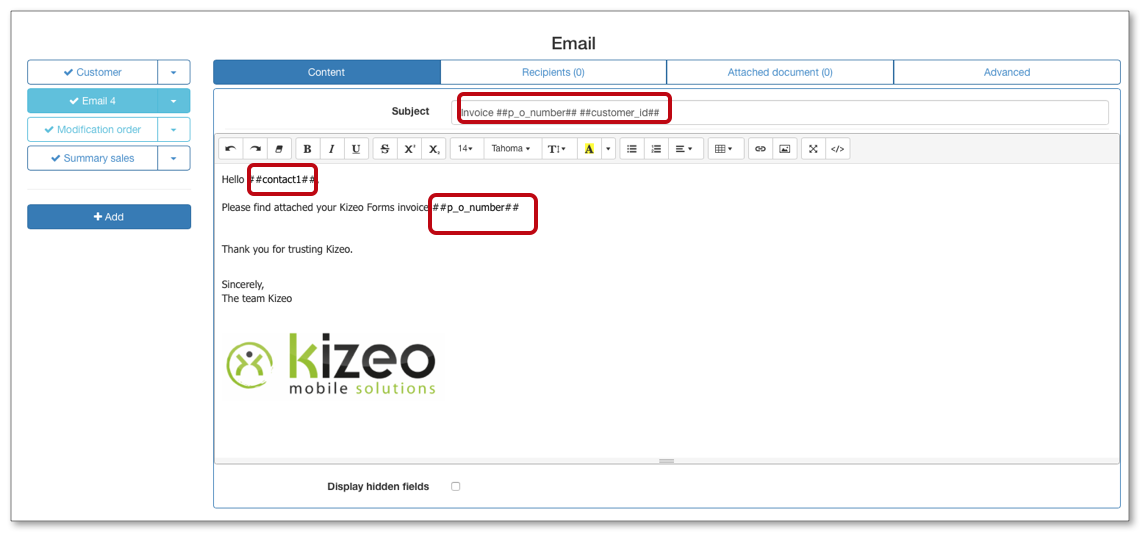 Customize the subject and message of your emails