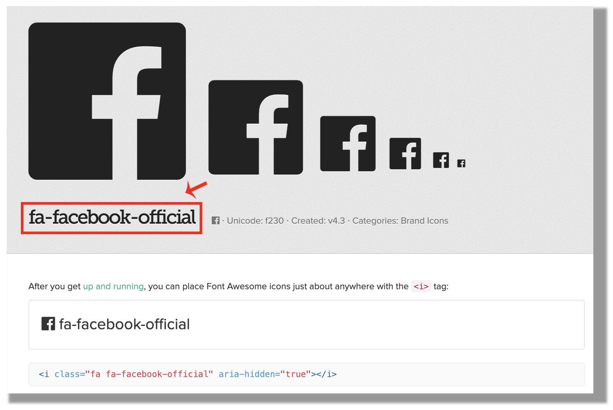 """Toma nota del código correspondiente al icono que comienza con """"fa-""""."""