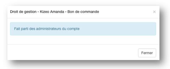 L'utilisateur a aussi un statut d'administrateur.