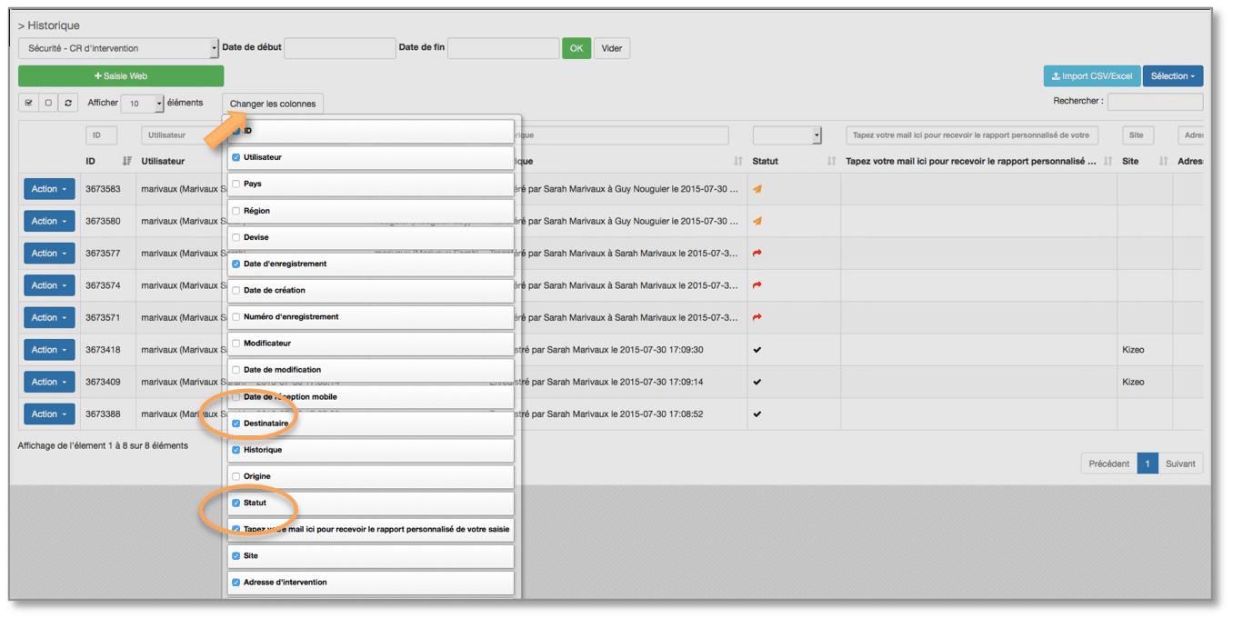 Configurez la page historique pour voir le statut de vos push.
