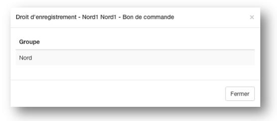 L'utilisateur fait parti d'un groupe d'utilisateurs ajouté dans l'onglet Groupes.