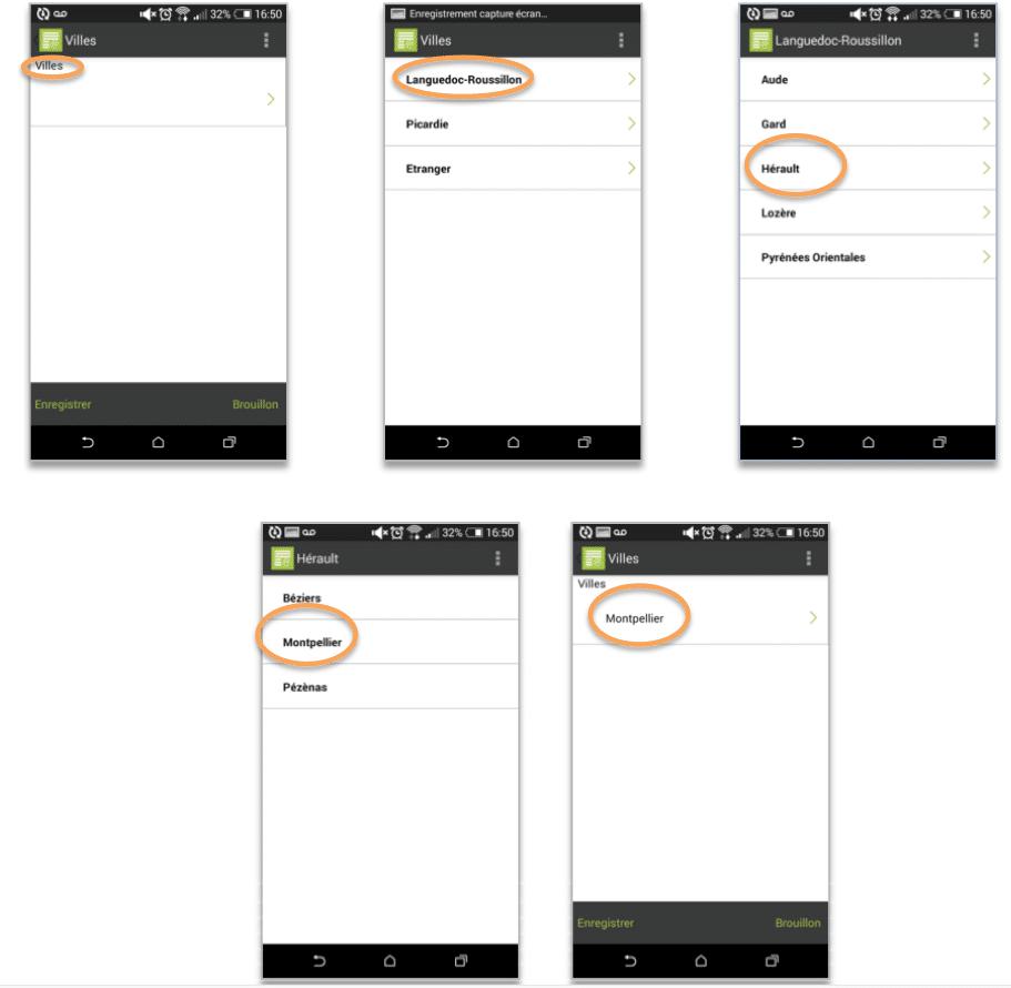 Aperçu de la liste hiérarchique sur le mobile.