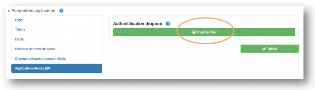 Authentification Dropbox depuis votre compte Kizeo Forms.