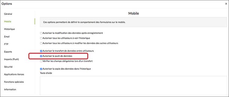 """Activez l'option """"Autoriser le push de données"""" dans l'onglet Mobile."""