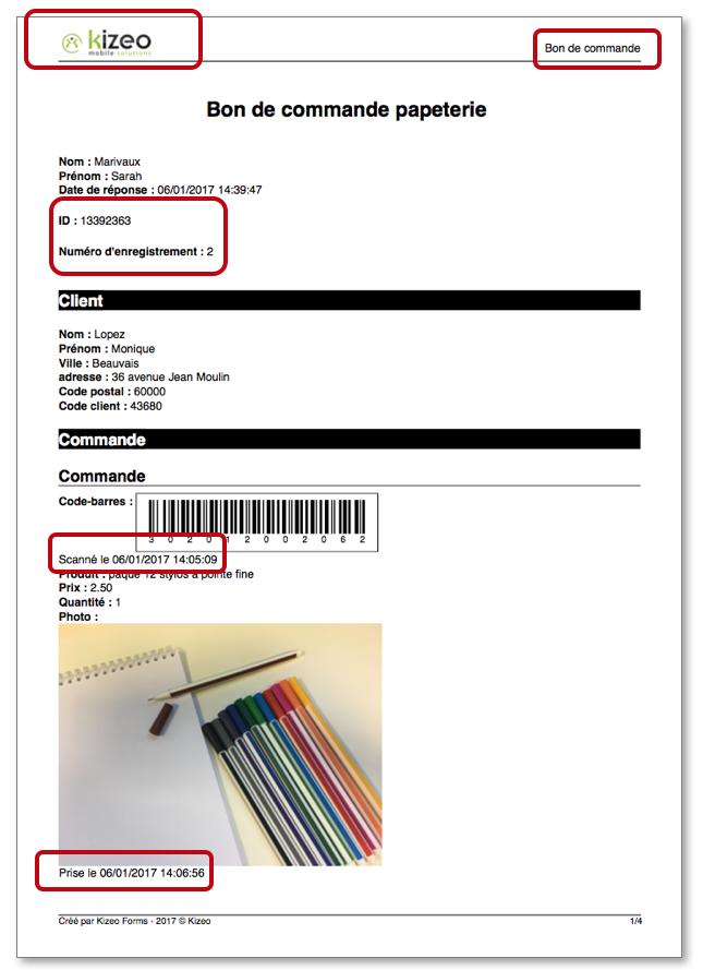 Voici un aperçu d'un bon de commande au format PDF Standard.