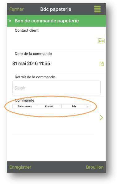 Ouvrez votre formulaire sur le mobile et cliquez sur votre champ Code-barres.