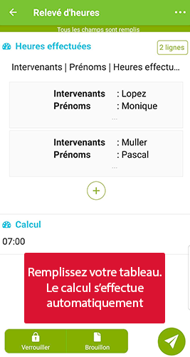 Exemple d'un champ calcul dans le formulaire relevé d'heures sur l'application mobile.