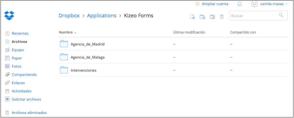 Creación de carpetas en Dropbox con sus formularios.