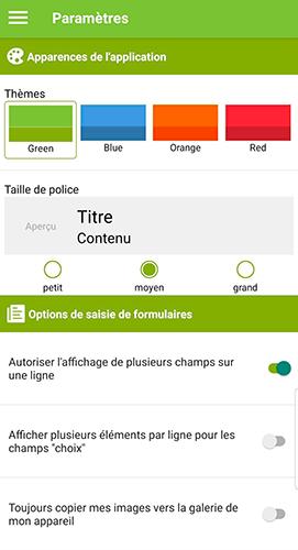 Sélectionnez le thème de couleur souhaité à partir de l'application mobile.