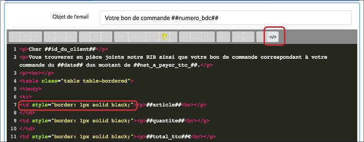 Aperçu du code pour créer des bordures à notre tableau dans l'email