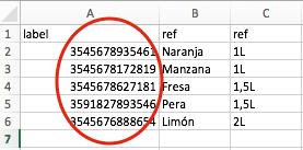 Creación de la lista con atributos asociada a un código de barras.