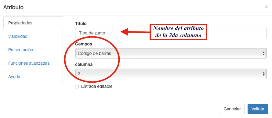Configuración del campo atributo con respecto al código de barra.