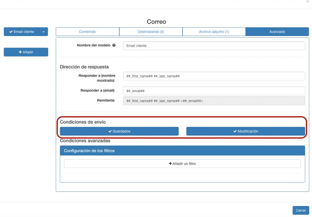 Puede elegir cuando enviar el correo electrónico si es cuando guarde el formulario o cuando lo modifique.