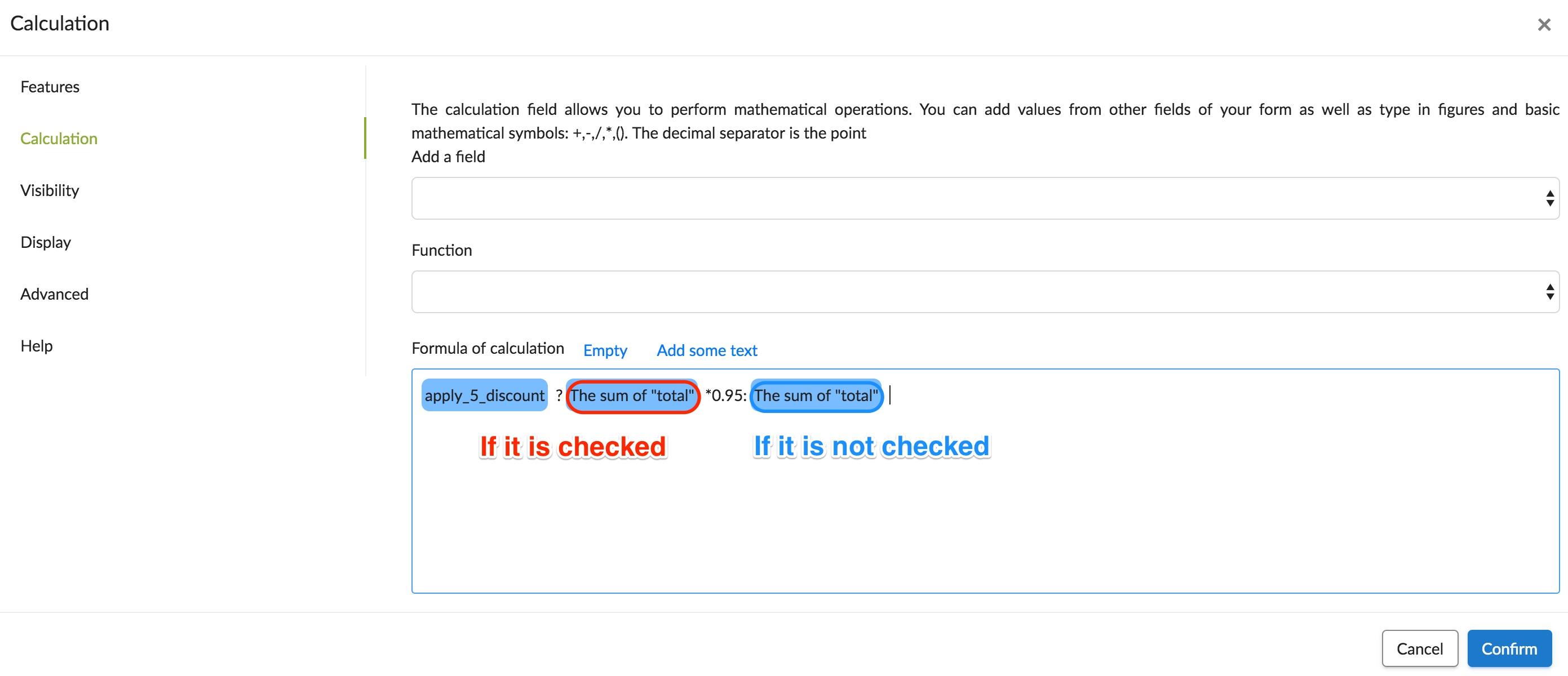 conditional calcuation for checkbox