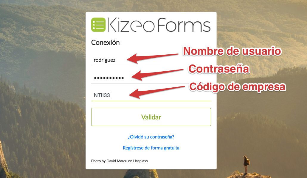 Conectarse a su cuenta Kizeo Forms
